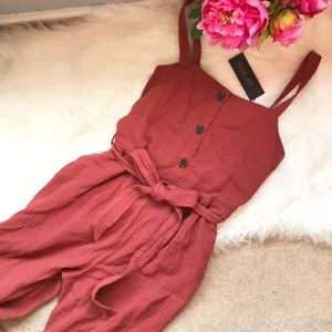 NWT Rachel Zoe rust button front pocket jumpsuit